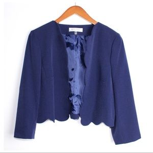KASPER Blue Scalloped Cropped Blazer Jacket